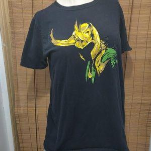 Marvel Loki helmet t-shirt EUC black size medium